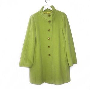 Armani Collezioni Lime Green Mock Neck Wool Coat